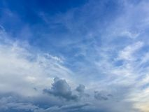 Sparse clouds in the blue sky morning background. Fluffy clouds. In the blue sky evening background. Blue sky in summer background with tiny clouds Royalty Free Stock Photo