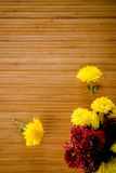 Sparse flowers on bamboo. Sparsed yellow and magenta flowerd on wooden background stock image