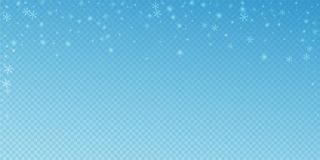 Sparse glowing snow Christmas background. Subtle f. Lying snow flakes and stars on transparent blue background. Actual winter silver snowflake overlay template royalty free illustration