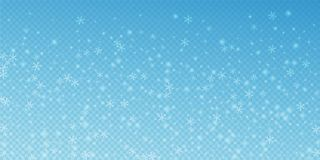 Sparse glowing snow Christmas background. Subtle f. Lying snow flakes and stars on transparent blue background. Adorable winter silver snowflake overlay template stock illustration