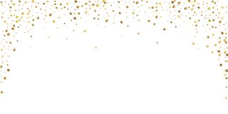 Sparse gold confetti luxury sparkling confetti. Sc. Attered small gold particles on white background. Beautiful festive overlay template. Appealing vector royalty free illustration