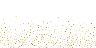 Sparse gold confetti luxury sparkling confetti. Sc. Attered small gold particles on white background. Brilliant festive overlay template. Imaginative vector vector illustration