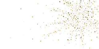 Sparse gold confetti luxury sparkling confetti. Sc. Attered small gold particles on white background. Attractive festive overlay template. Overwhelming vector stock illustration