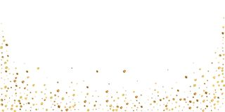 Sparse gold confetti luxury sparkling confetti. Sc. Attered small gold particles on white background. Beautiful festive overlay template. Graceful vector royalty free illustration