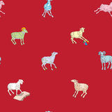 Sparse pattern with sheeps Stock Photo