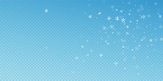 Sparse snowfall Christmas background. Subtle flyin. G snow flakes and stars on blue transparent background. Artistic winter silver snowflake overlay template vector illustration