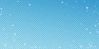 Sparse snowfall Christmas background. Subtle flyin. G snow flakes and stars on blue transparent background. Bewitching winter silver snowflake overlay template royalty free illustration