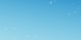 Sparse snowfall Christmas background. Subtle flyin. G snow flakes and stars on blue transparent background. Appealing winter silver snowflake overlay template stock illustration