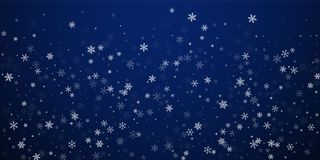 Sparse snowfall Christmas background. Subtle flyin. G snow flakes and stars on dark blue night background. Beautiful winter silver snowflake overlay template royalty free illustration