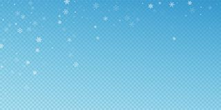 Sparse snowfall Christmas background. Subtle flyin. G snow flakes and stars on blue transparent background. Authentic winter silver snowflake overlay template stock illustration