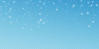Sparse snowfall Christmas background. Subtle flying. Snow flakes and stars on blue transparent background. Beauteous winter silver snowflake overlay template stock illustration