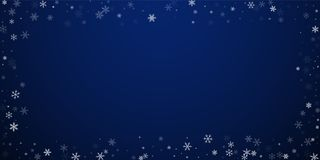 Sparse snowfall Christmas background. Subtle flyin. G snow flakes and stars on dark blue night background. Awesome winter silver snowflake overlay template vector illustration