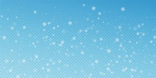 Sparse snowfall Christmas background. Subtle flyin. G snow flakes and stars on transparent blue background. Adorable winter silver snowflake overlay template stock illustration