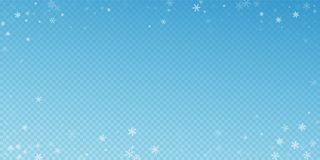 Sparse snowfall Christmas background. Subtle flying. Snow flakes and stars on blue transparent background. Bewitching winter silver snowflake overlay template stock illustration