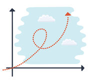 Sparse vector illustration of a of a generic cartoon character up an exponential growth chart. Stock Photo