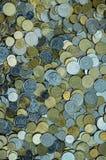 Sparso delle monete ucraine dei soldi Fotografie Stock