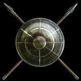 Spartańska osłona z przecinającym dzida symbolem na czarnym tle royalty ilustracja