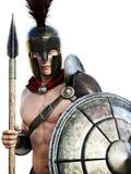 Spartański żołnierz w batalistycznej sukni royalty ilustracja