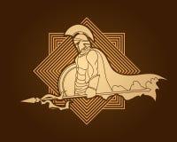 Spartański wojownik z dzidą i osłoną ilustracji