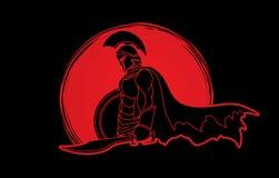 Spartański wojownik z kordzikiem i osłoną ilustracja wektor