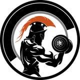 Spartańskiego sprawności fizycznej Dumbbell Boczny widok ilustracja wektor