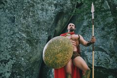 Spartański wojownik w drewnach Zdjęcia Royalty Free