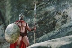 Spartański wojownik w drewnach Zdjęcie Stock