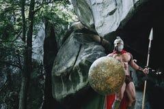 Spartański wojownik w drewnach Obrazy Royalty Free