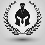 Spartaans helmsilhouet Stock Foto's