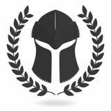Spartaans helmsilhouet met lauwerkrans Front View Ridder, gladiator, Viking, het pictogram van de strijdershelm Stock Afbeelding