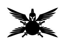 Spartaanse helm, schild, zwaard en vleugels royalty-vrije illustratie