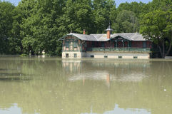 Spartacus Boathouse Flooded by Raba River in Gyor,. The Spartacus Boathouse is the oldest Boathouse in Hungary handed out in 1896 Stock Images