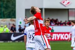 16 07 15 Spartak-de Moskou-Jeugd 2-3 de Oefa-Jeugd, spelogenblikken Stock Afbeeldingen
