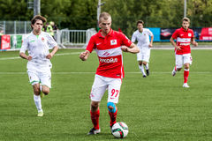 16 07 15 Spartak-de Moskou-Jeugd 2-3 de Oefa-Jeugd, spelogenblikken Royalty-vrije Stock Afbeeldingen