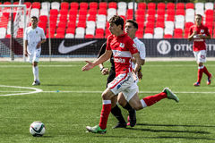 16 07 15 Spartak-de Moskou-Jeugd 2-3 de Oefa-Jeugd, spelogenblikken Royalty-vrije Stock Fotografie