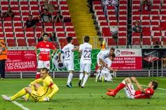 17/07/15 Spartak 2-2 het spelogenblikken van Oefa, doel Stock Foto's