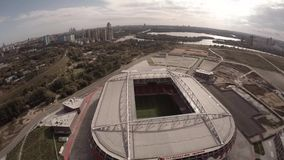 Spartak Otkritie Arena stadium close view. Moscow city Russia. Unique Aerial drone footage. Fifa 2018. Spartak Otkritie Arena stadium close view. From above stock footage