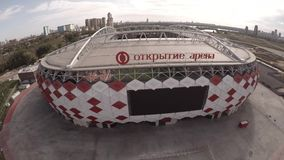 Spartak Otkritie Arena stadium close view. Moscow city Russia. Unique Aerial drone footage. Fifa 2018. Spartak Otkritie Arena stadium close view. From above stock video