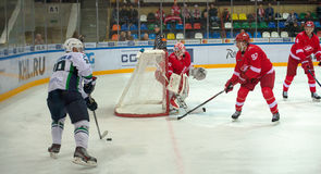 Spartak protects gates. MOSCOW, RUSSIA - SEPTEMBER 27, 2016: Spartak Kamanda protects gates on hockey game Spartak (Moscow) against Yugra (Khanty-Mansiysk) on Stock Image