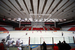 Spartak-Severstal on ice field Stock Image