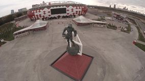 Spartak statue and Otkritie Arena stadium aerial view. Moscow city Russia. Unique Aerial drone footage. Fifa 2018 stock footage