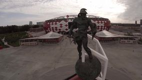 Spartak statue and Otkritie Arena stadium aerial view. Moscow city Russia. Unique Aerial drone footage. Fifa 2018. Spartak Otkritie Arena stadium close view stock footage