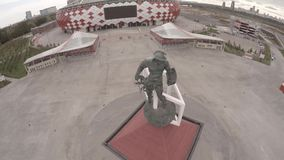 Spartak statue and Otkritie Arena stadium aerial view. Moscow city Russia. Unique Aerial drone footage. Fifa 2018. Spartak Otkritie Arena stadium close view stock video footage