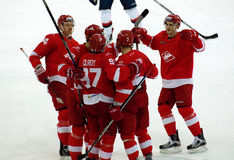 Spartak team rejoice. MOSCOW, RUSSIA - NOVEMBER 26, 2016: Spartak team rejoice on hockey game Spartak vs Slovan on Russian KHL premier hockey league Championship Stock Photography