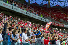 17/07/15 Spartak 2-2 Ufa fans Arkivbilder