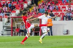 17/07/15 Spartak 2-2 Ufa lekögonblick Arkivbild