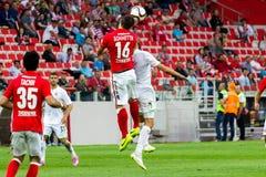 17/07/15 Spartak 2-2 Ufa lekögonblick Royaltyfria Bilder