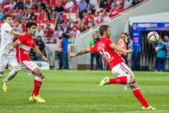17/07/15 Spartak 2-2 Ufa lekögonblick Royaltyfri Fotografi