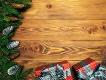 Spartakken op de houten raad Verpakte giftdozen Het concept van Kerstmis en van het Nieuwjaar stock fotografie