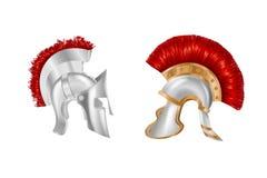 Spartan Ancient Greek réaliste, casque romain Couvre-chef protecteur argenté illustration stock